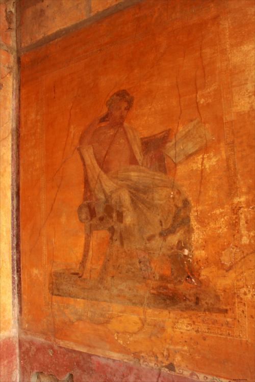 Włochy, Pompeje, Dom Menandra Fresk przedstawiający Menandra (poeta grecki) z książką w ręku, od którego pochodzi nazwa budynku.