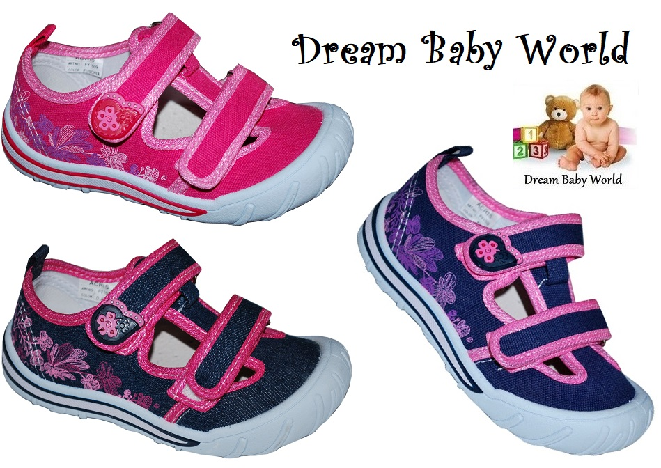 Girls canvas trainers shoes Real Leather Insoles Toddler 8-12 UK Infant Sandals