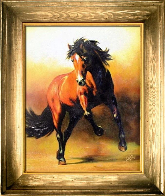 Pferd 64x53 Ölgemälde Handgemalt Leinwand Rahmen Signiert