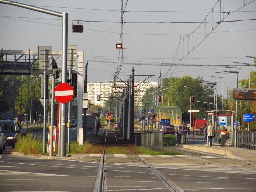 Torowisko na ul. Powstańców Śląskich w Warszawie