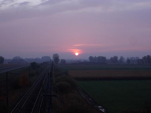 Wschód Słońca nad Żuławami Wiślanymi. Dla takich widoków warto wcześnie wstać :-)