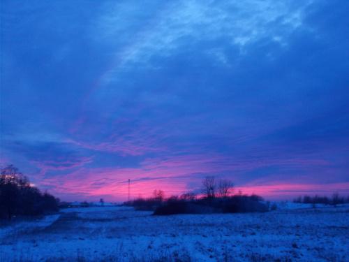 Płonie niebo nad Elblągiem - widok z Jagodnika