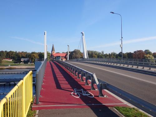 Opuszczam Wyspę Sobieszewską nowym mostem zwodzonym w Sobieszewie